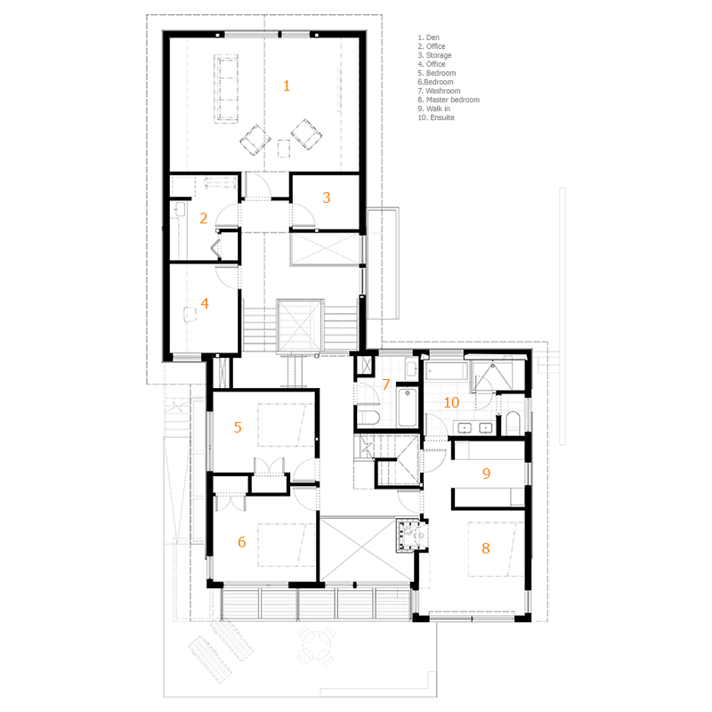 Monteyne Architecture   Projects - Wolseley Residence - Second Floor Plan