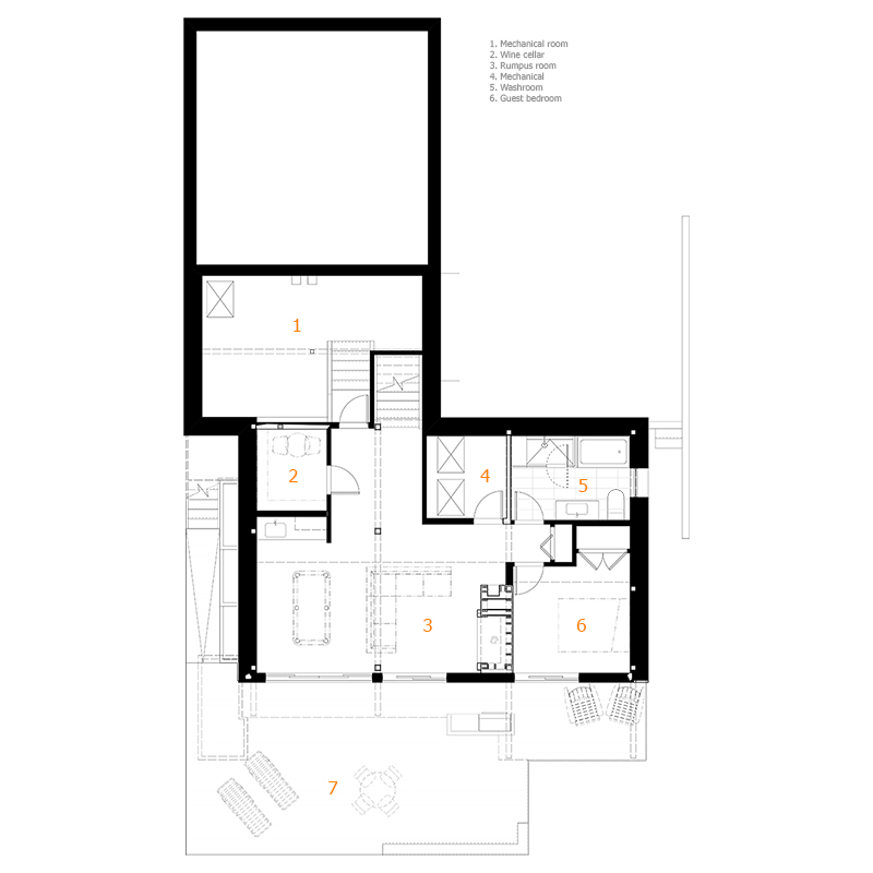 Monteyne Architecture | Projects - Wolseley Residence - Basement Plan