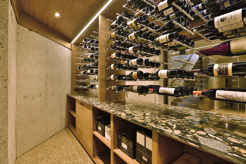 Monteyne Architecture | Projects - Linden Woods Residence - Wine cellar