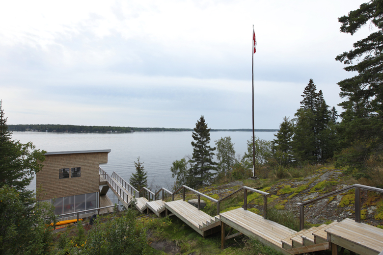 Monteyne Architecture | Residential - Falcon Lake Summer House - VIEW FROM EAST TERRACE