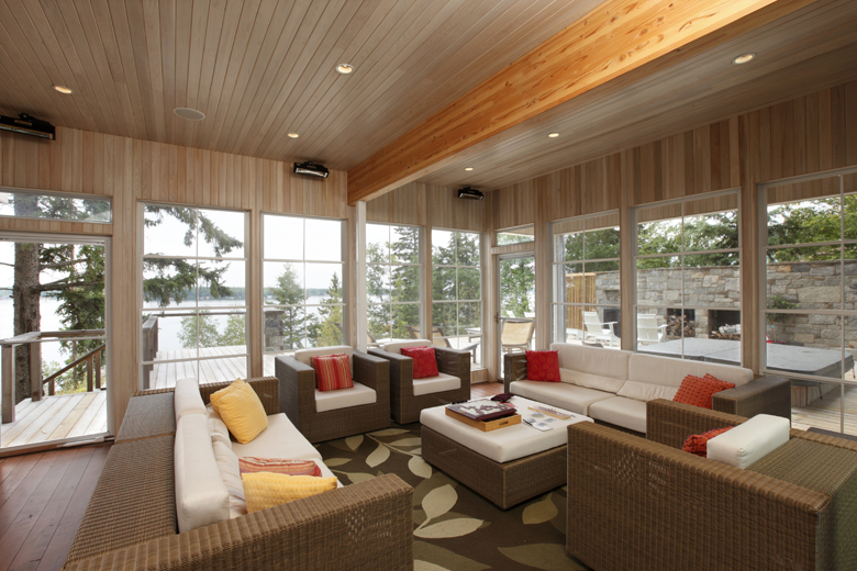 Monteyne Architecture | Residential - Falcon Lake Summer House - LOUNGE AREA WITH VIEW OF FALCON LAKE