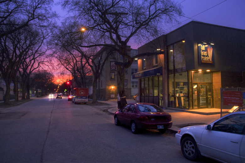 Monteyne Architecture | Projects - Tall Grass Prairie Bakery - WESTMINSTER AVENUE AT DUSK