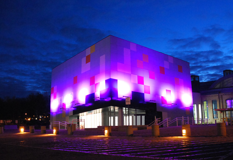 Monteyne Architecture   Projects - Manitoba Children's Museum - WELCOME CENTRE AT NIGHTTIME