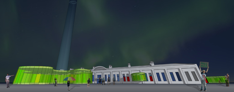 Monteyne Architecture   Projects - Manitoba Children's Museum - RENDERING OF EARLY CONCEPT DESIGN