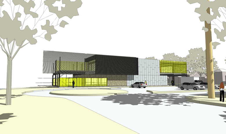 Monteyne Architecture   Projects - Riverview Office - RENDERING OF SOUTH FACADE FROM MAIN APPROACH