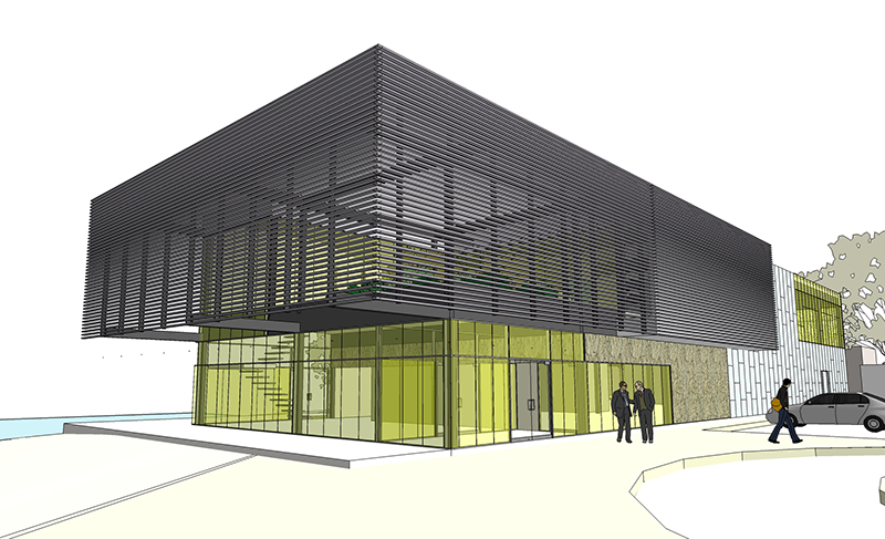 Monteyne Architecture | Projects - Riverview Office - RENDERING OF MAIN ENTRANCE