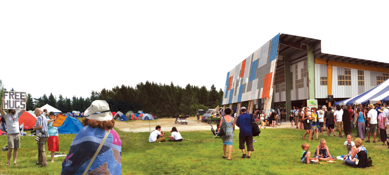 Monteyne Architecture | Projects - Winnipeg Folk Festival Kitchen Facility - THE COLOURFUL PATCHWORK CLADDING REFERENCES THE TARPS THAT POPULATE THE FESTIVAL SITE