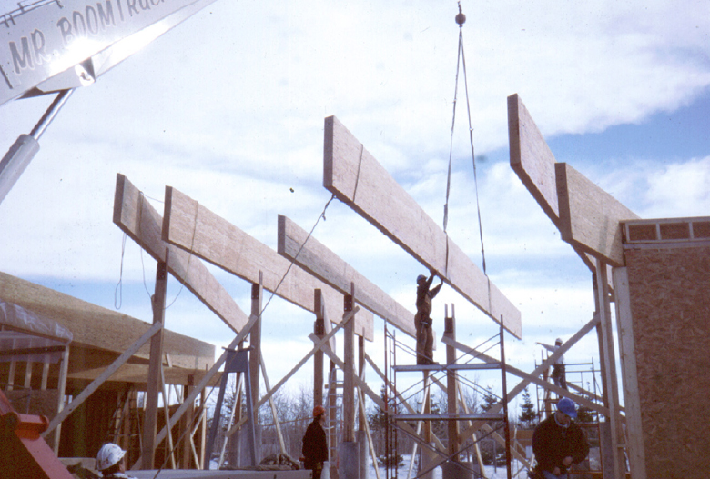 Monteyne Architecture | Cultural - Alloway Reception Centre - BEAMS BEING LIFTED INTO PLACE