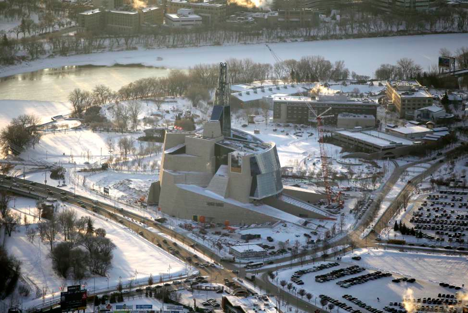 Monteyne Architecture | Projects - Shine Dental - VIEW OF CANADIAN MUSEUM FOR HUMAN RIGHTS FROM SKY LOUNGE