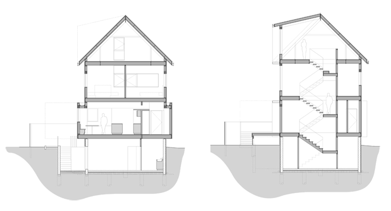 Monteyne Architecture   Projects - CS Residence - BUILDING CROSS SECTIONS
