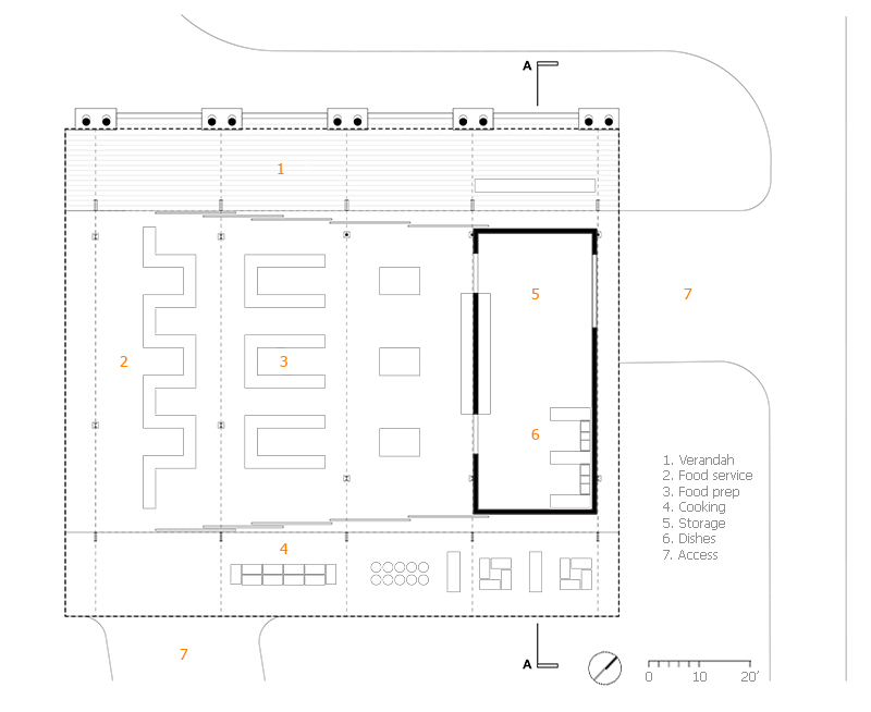 Monteyne Architecture | Projects - Winnipeg Folk Festival Kitchen Facility - LA CUISINE FLOOR PLAN