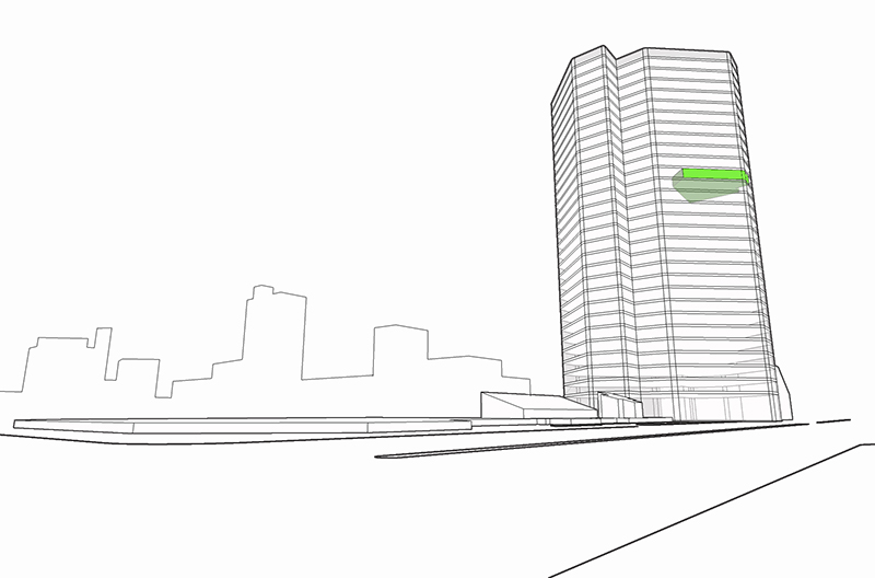 Monteyne Architecture | Projects - Shine Dental - SCHEMATIC DIAGRAM OF SHINE DENTAL ON THE 20TH FLOOR - VIEWING NORTH FROM MAIN STREET