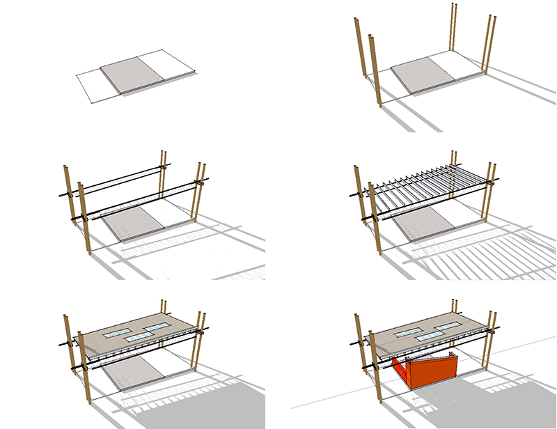 Monteyne Architecture | Projects - WPG Folk Festival Food Vendor Serpentine - SEQUENCE OF CONSTRUCTION OF FOOD VENDOR MODULE