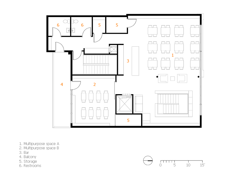 Monteyne Architecture   Projects - The Neighbourhood Bookstore & Cafe - SECOND FLOOR PLAN
