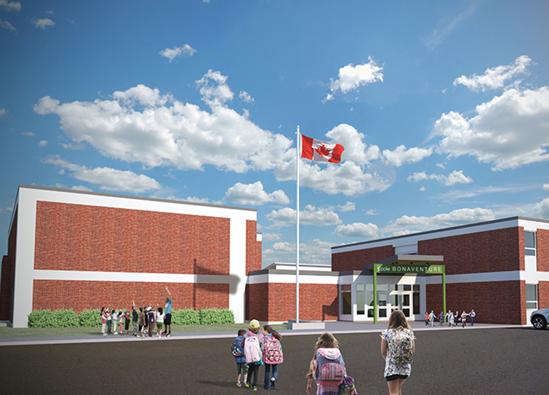 Monteyne Architecture | Projects - Ecole Bonaventure - RENDERED VIEW OF THE NEW MAIN ENTRANCE AND GYMNASIUM ADDITION TO THE SOUTH