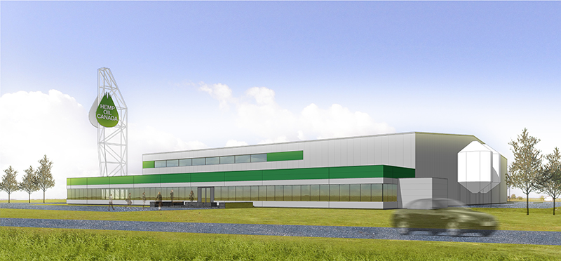 Monteyne Architecture | Projects - Hemp Oil Canada - RENDERED VIEW OF THE EAST ELEVATION AS SEEN FROM HIGHWAY 75 - SOUTHBOUND