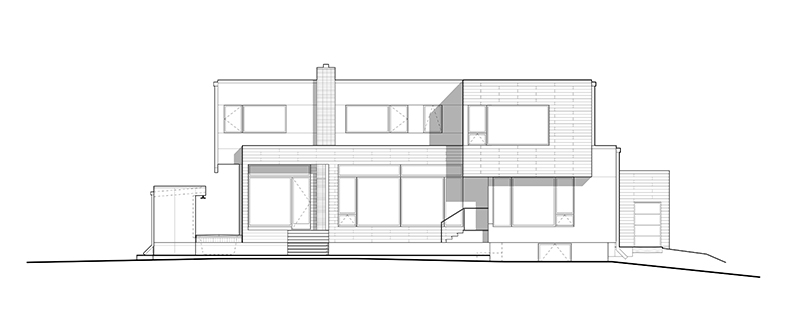 Monteyne Architecture | Projects - Linden Woods Residence - Back Elevation