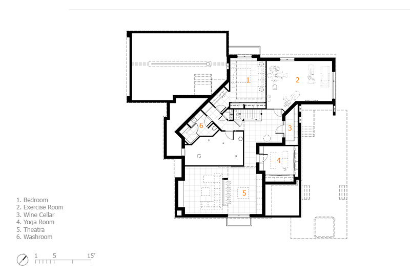 Monteyne Architecture | Projects - Linden Woods Residence - Basement