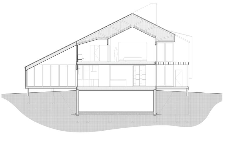 Monteyne Architecture   Projects - LW House - Section