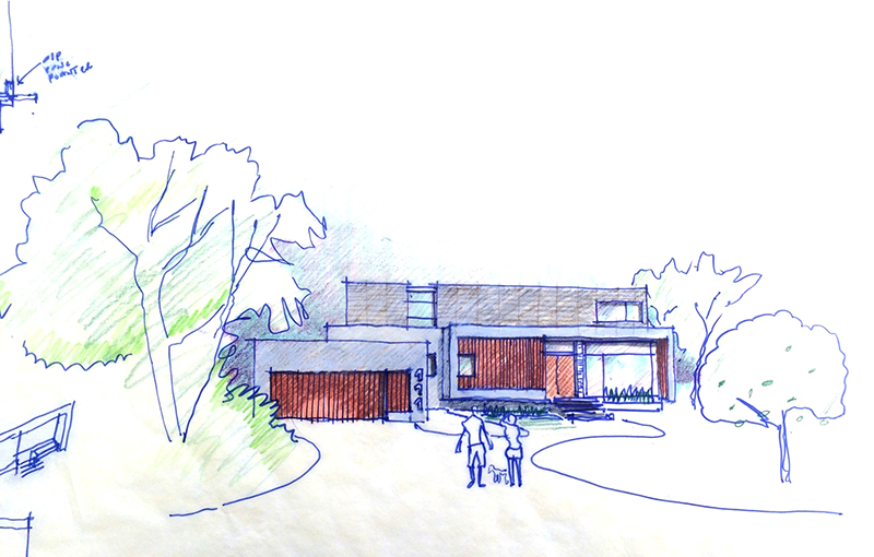 Monteyne Architecture | Projects - Linden Woods Residence - Facade sketch