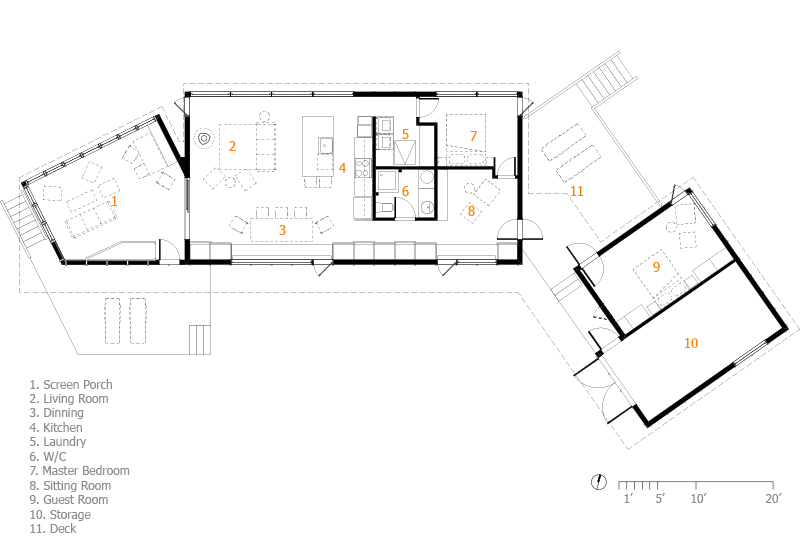 Monteyne Architecture | Projects - Victoria Beach Cottage - Main Floor Plan